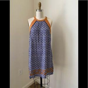 Boho Pattern Embroidered Hem Dress - Blue/Cognac